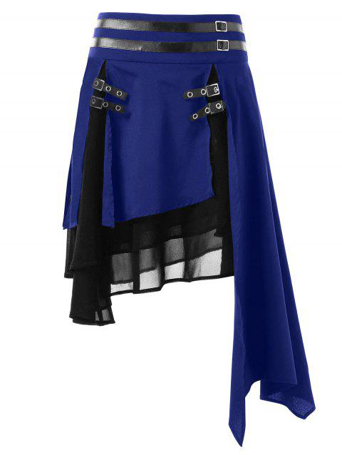 Contrast Asymmetrical Layered Skirt - DENIM DARK BLUE XL