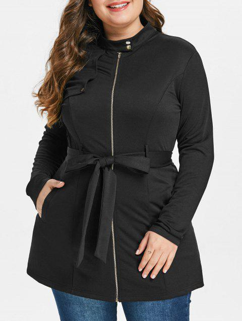 Plus Size Zip Fly Belted Tunic Coat - BLACK L
