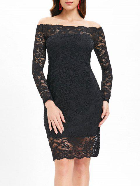Off Shoulder Lace Mini Dress - BLACK XL