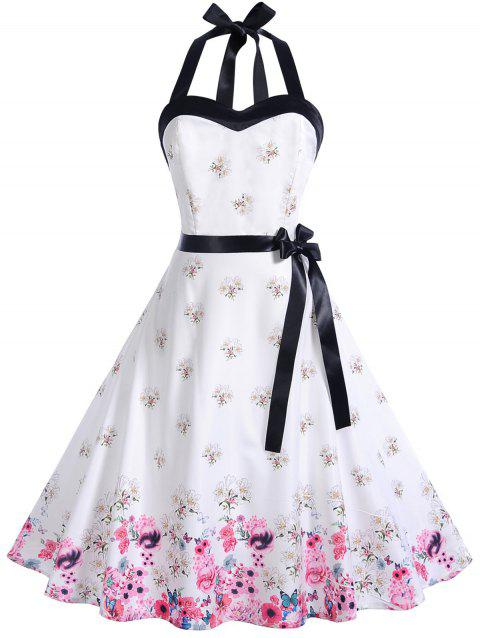 ed716f41dc 2019 Vintage Halter Floral Print Pin Up Dress In MILK WHITE M ...