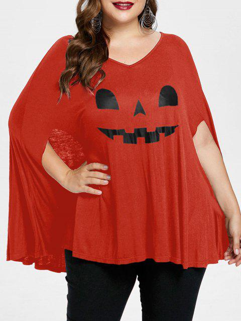 Plus Size Halloween Pumpkin Lamp Poncho T-shirt - BRIGHT ORANGE 5X