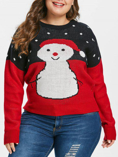 Plus Size Snowman Christmas Sweater - RED 1X