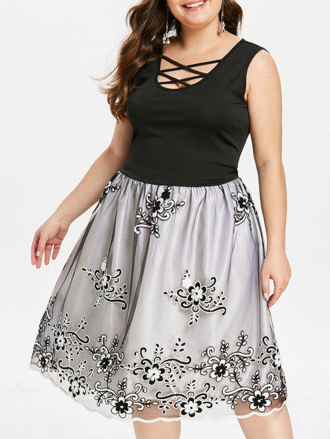 Plus Size Mesh Insert Embroidered Vintage Dress - BLACK 3X