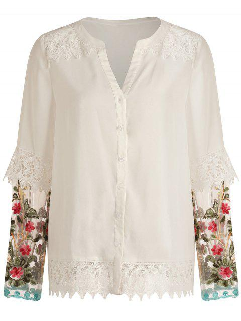 Embroidered Lace Panel Shirt - MILK WHITE 2XL
