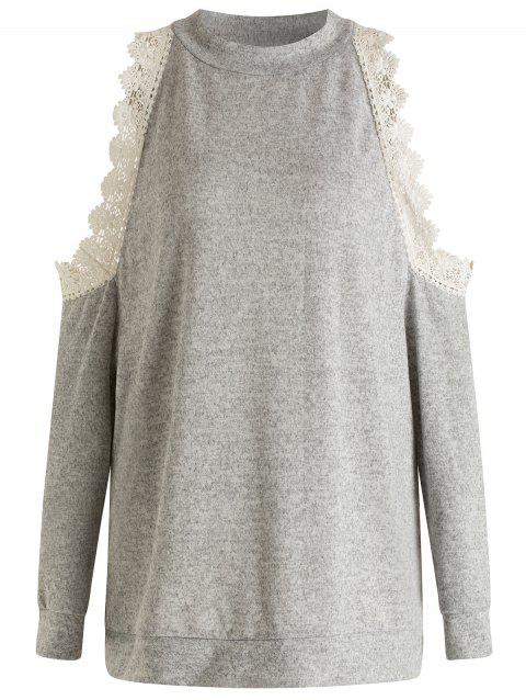 Plus Size Cold Shoulder Pullover Sweatshirt - GRAY 3X