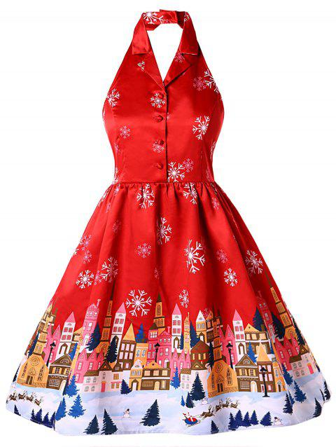 b0024d70c7 17% OFF  2019 Plus Size Christmas Print Halter Vintage Dress In RED ...