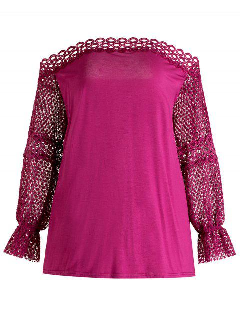 Plus Size Openwork Off Shoulder Top - DARK CARNATION PINK 2X