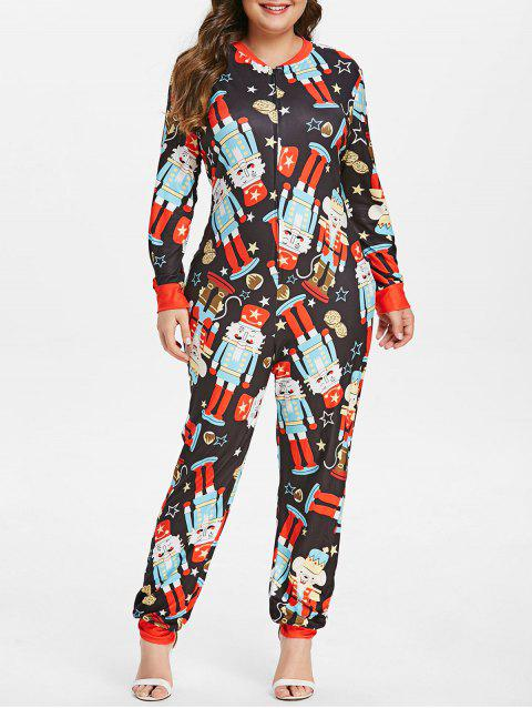 Cartoon Print Long Sleeve Plus Size Jumpsuit - multicolor ONE SIZE