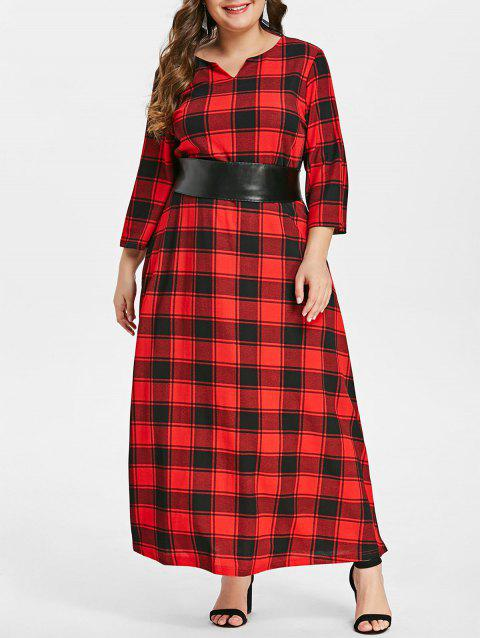 Plus Size Tied Waist Tartan Print Maxi Dress - RED 2X