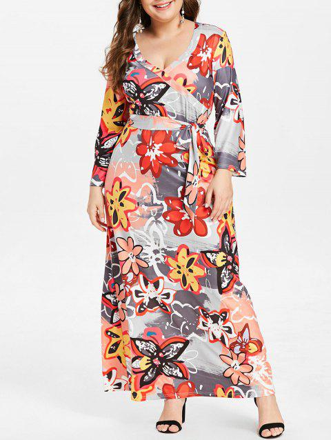 Plus Size V Neck Floral Maxi Dress - multicolor L