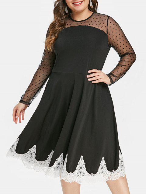 Plus Size Sheer Mesh Insert Lace Trim Flare Dress