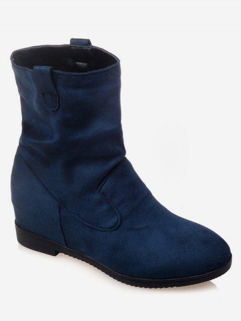 Plus Size Increased Internal Suede Mid Calf Boots - PEACOCK BLUE EU 39