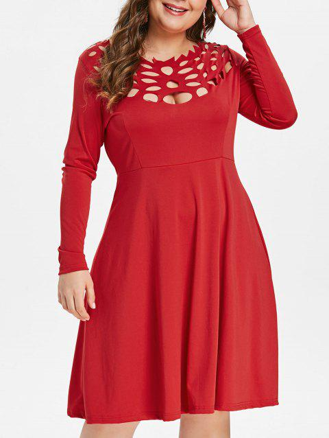 Plus Size Long Sleeve Cut Out Dress - RED 1X