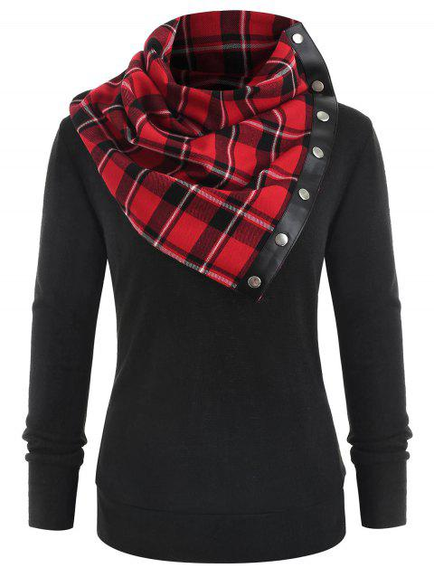 Sweat-shirt Simple Col à Tartan - Noir L