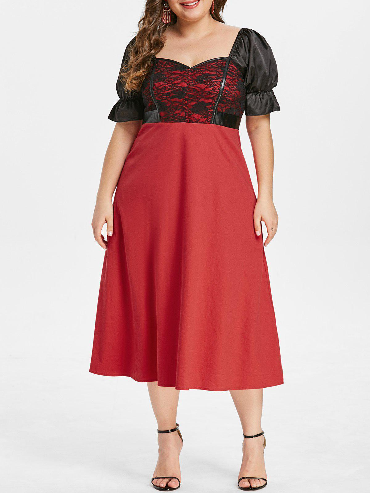 Plus Size Lace Panel Sweetheart Dress - RED L