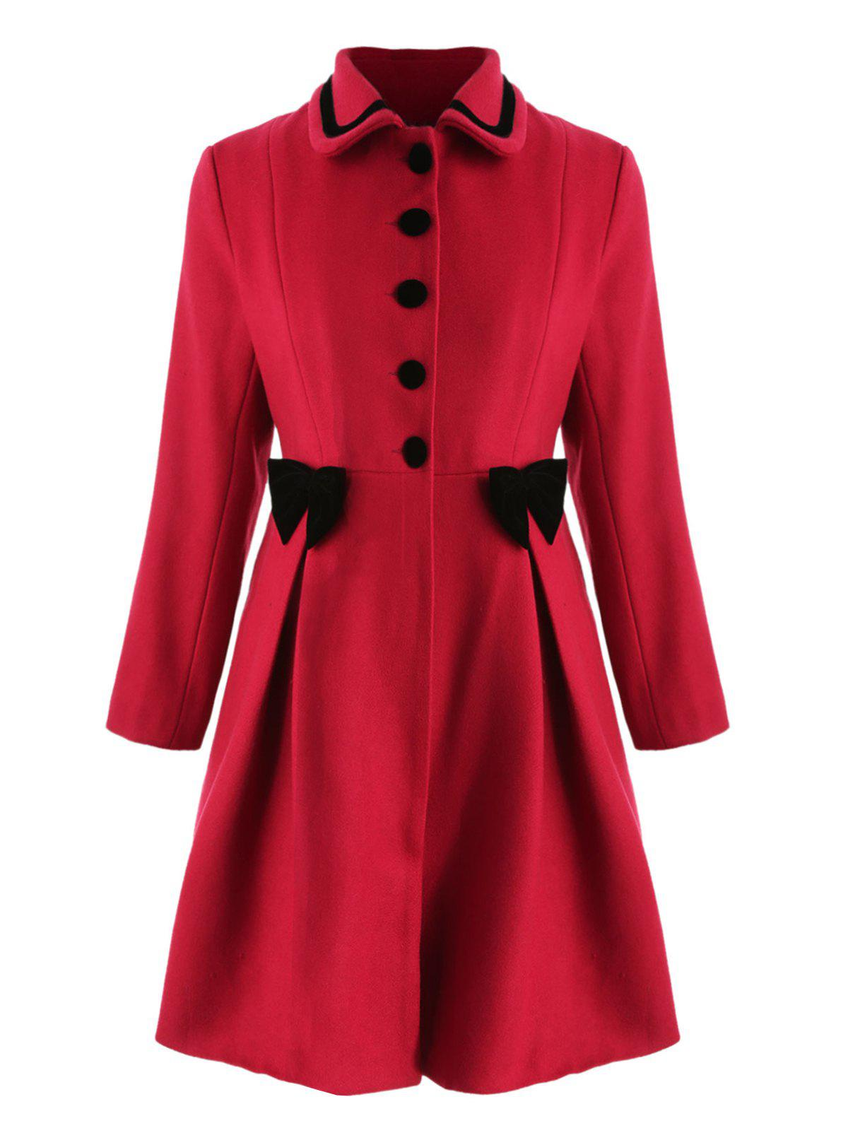 Plus Size Bowknot Embellished Longline Coat - RED L