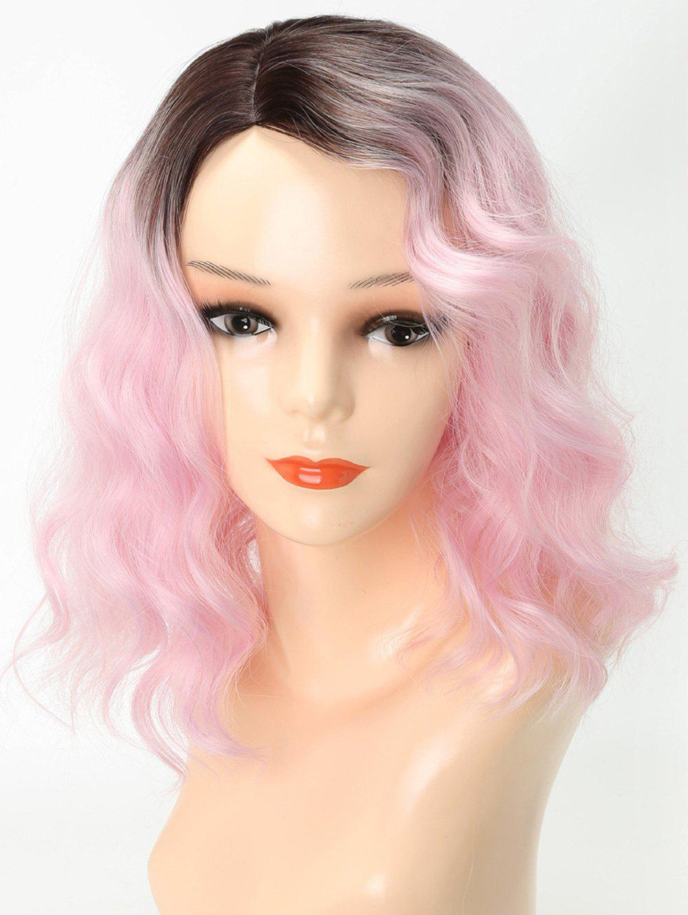 Medium Side Parting Ombre Wavy Cosplay Party Synthetic Wig - PINK