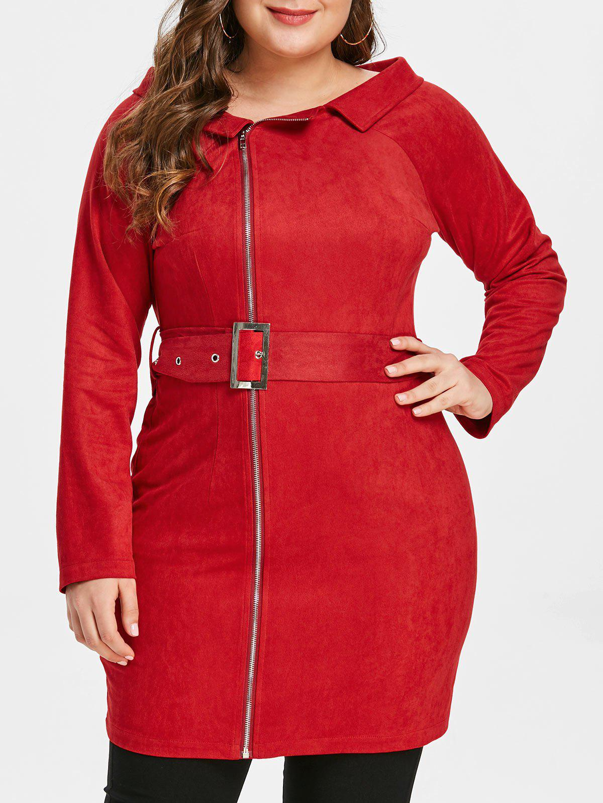 Plus Size Lapel Zipped Mini Bodycon Dress - RED L