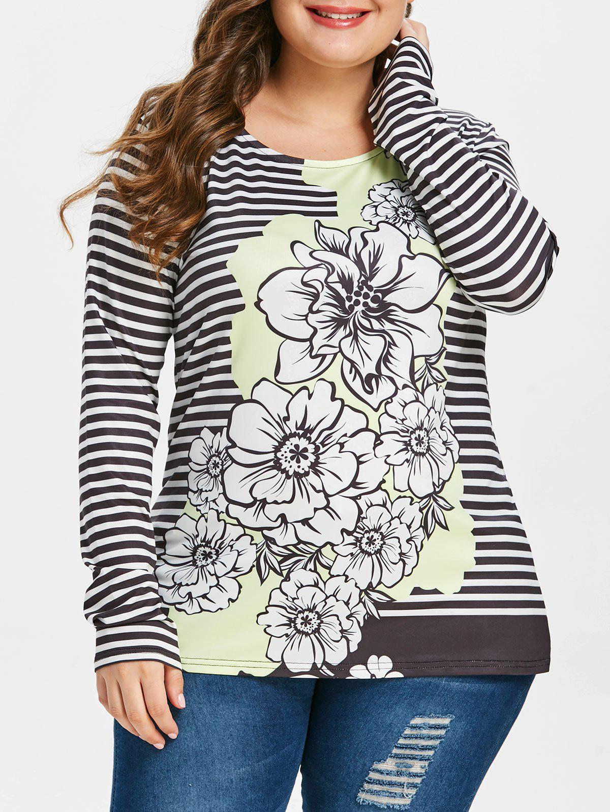 Plus Size Striped Floral Print Tee