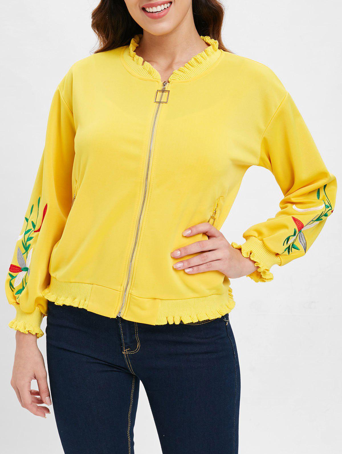 Floral Embroidered Ruffles Jacket with Zipper Fly - YELLOW L