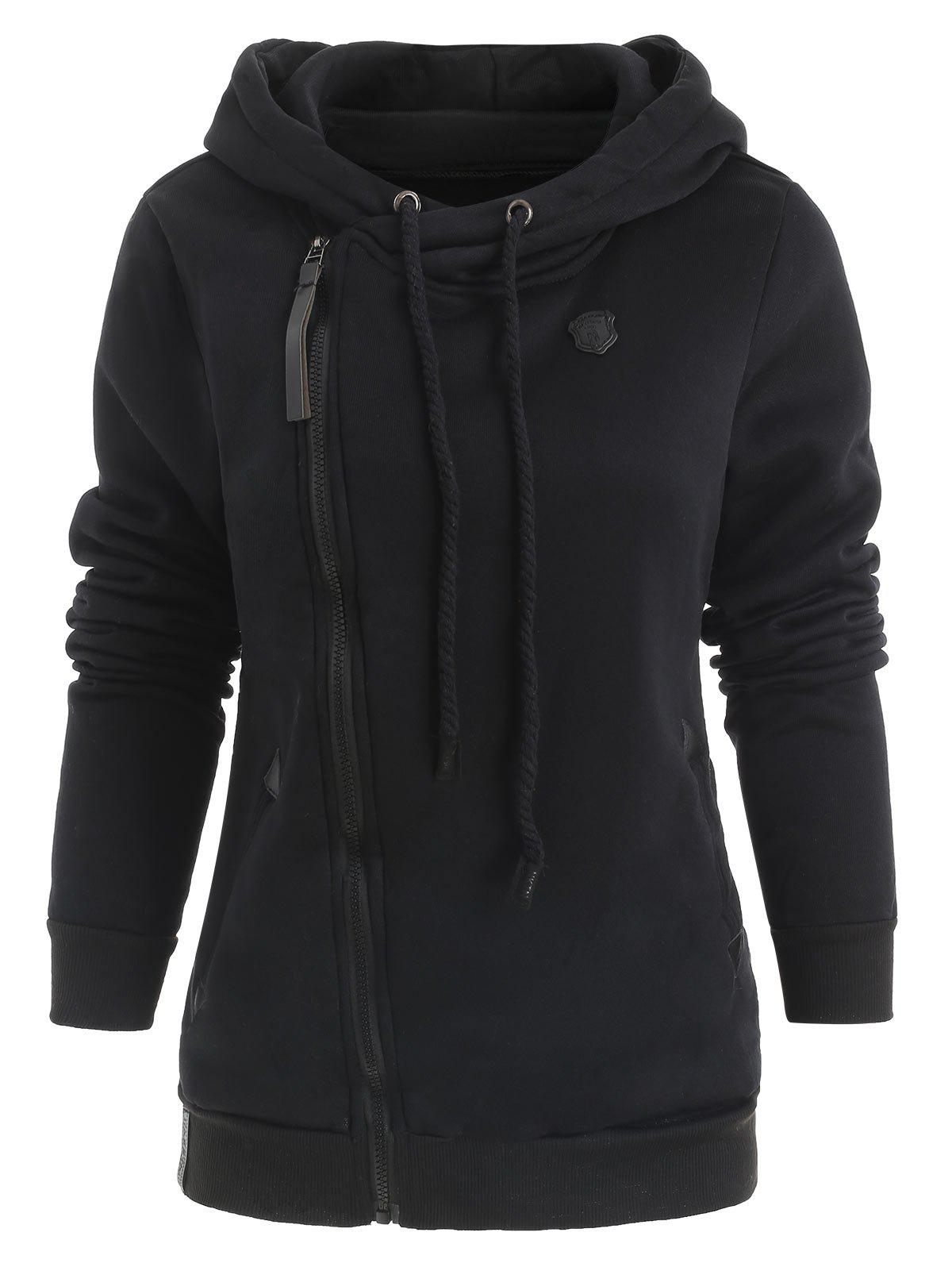Casual Style Solid Color Long Sleeves Women's Hoodie - BLACK M