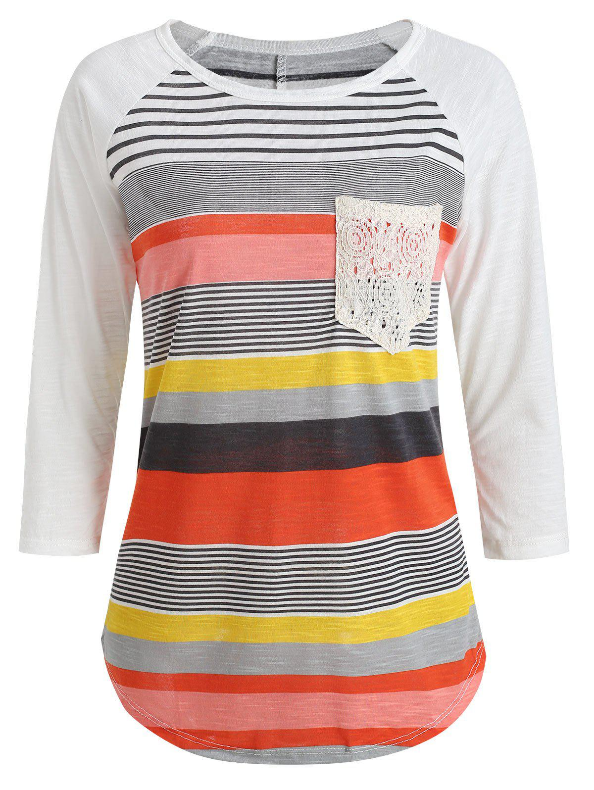 Casual Striped Lace Spliced 3/4 Sleeve Irregular T-Shirt For Women - RED M