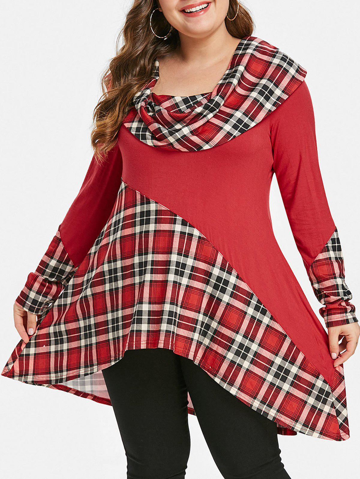 Plus Size Skew Neck Tartan High Low T-shirt