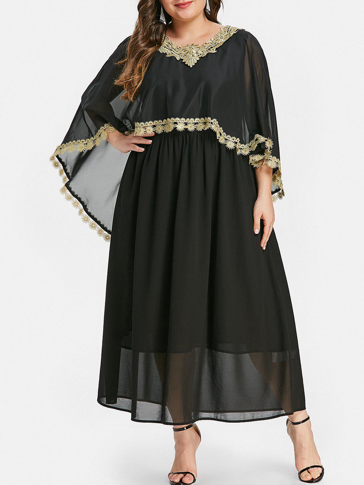 Plus Size Contrast Lace Cape Dress - BLACK 1X