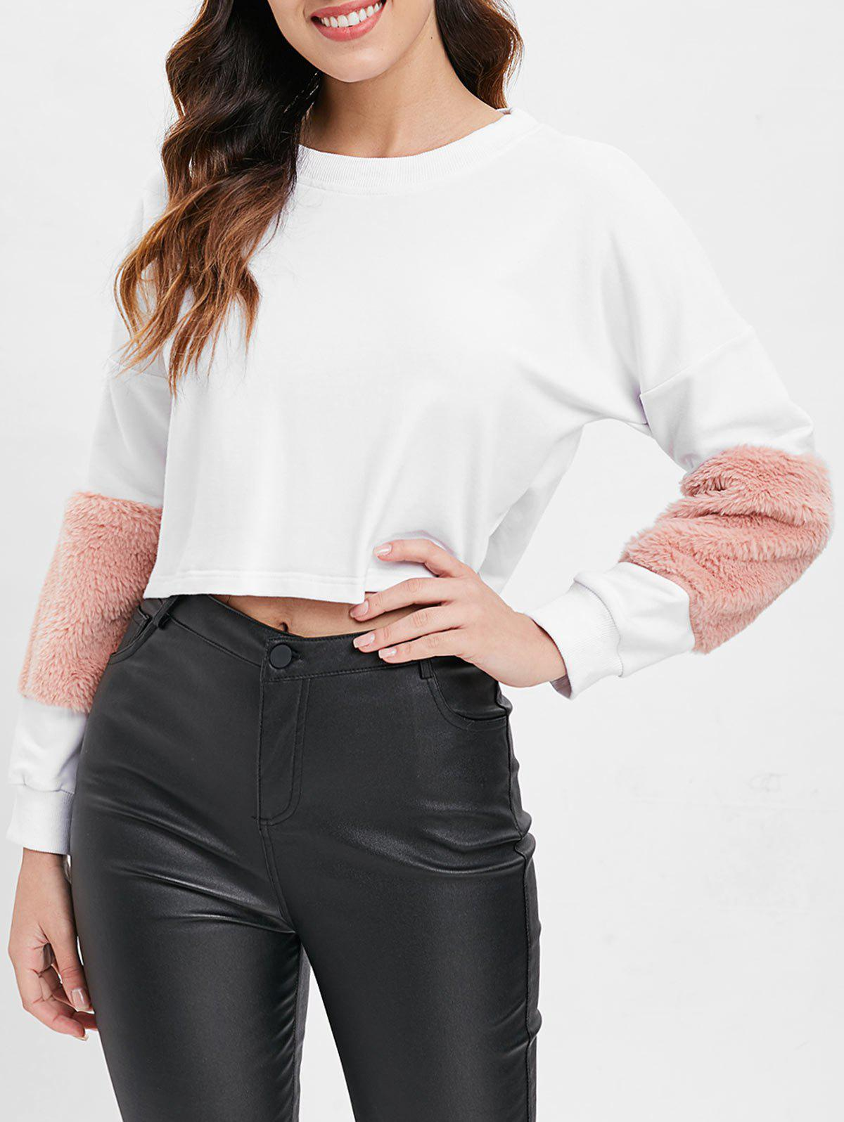 Fluffy Sleeve Crop Sweatshirt - WHITE XL