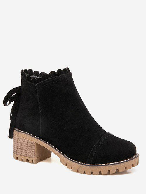 Plus Size Bow Back Suede Chunky Heel Boots - BLACK EU 43