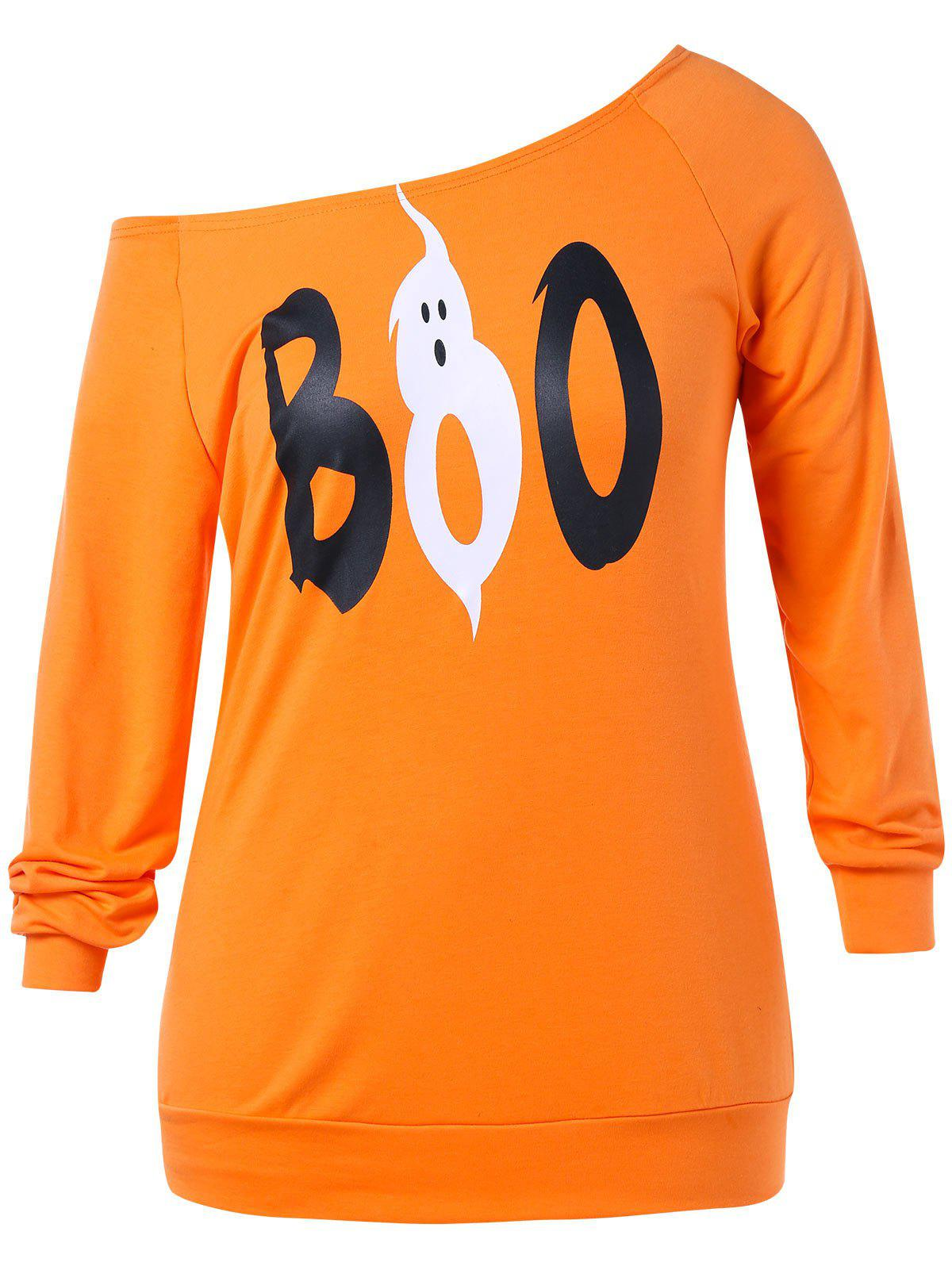 Plus Size Raglan Sleeve Halloween Sweatshirt - ORANGE 4X