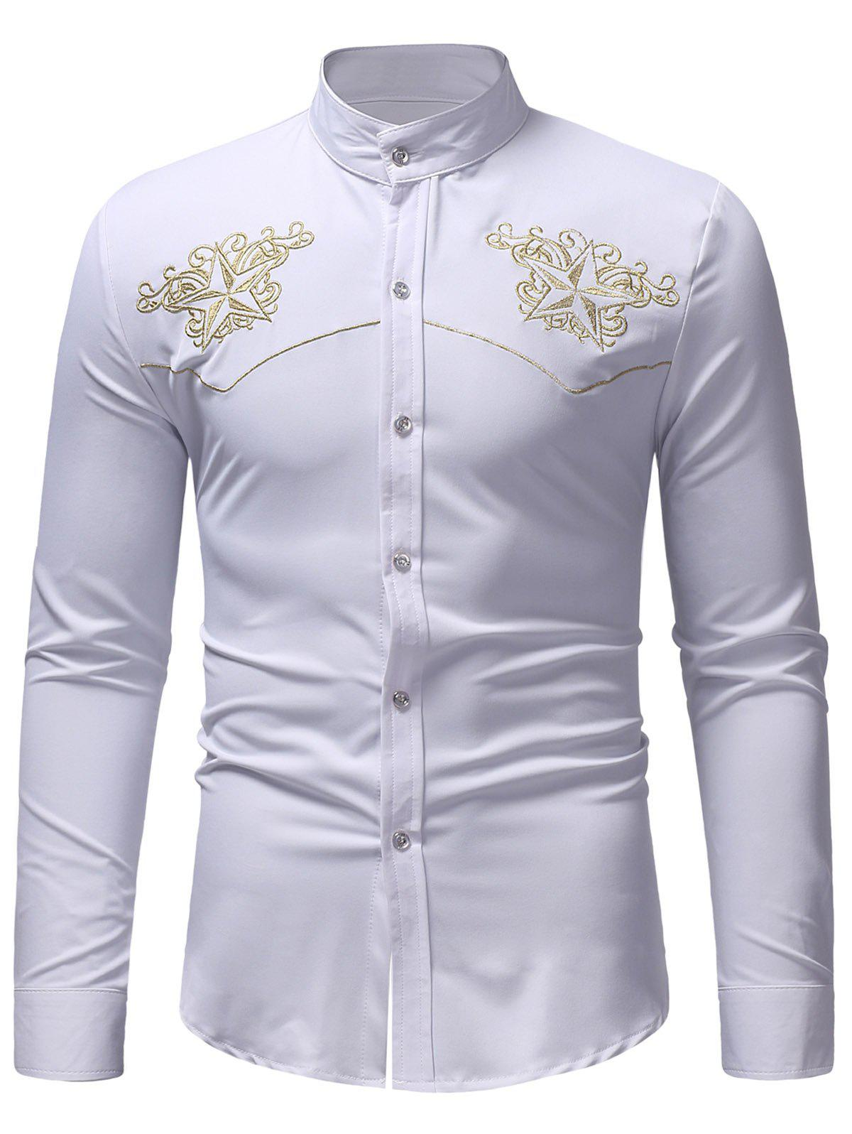 Embroidery Star Print Stand Collar Shirt - WHITE XL