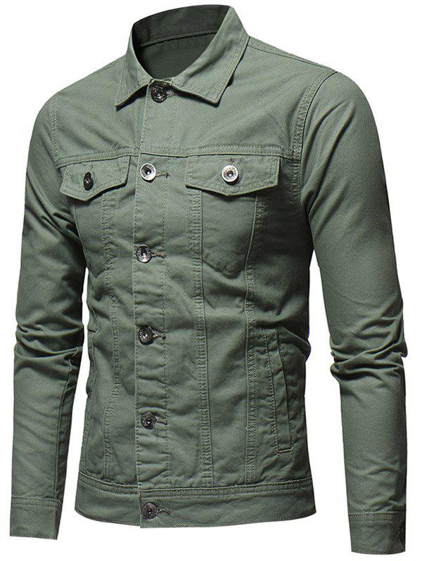 Solid Color Button Fly Denim Jacket - ARMY GREEN 2XL