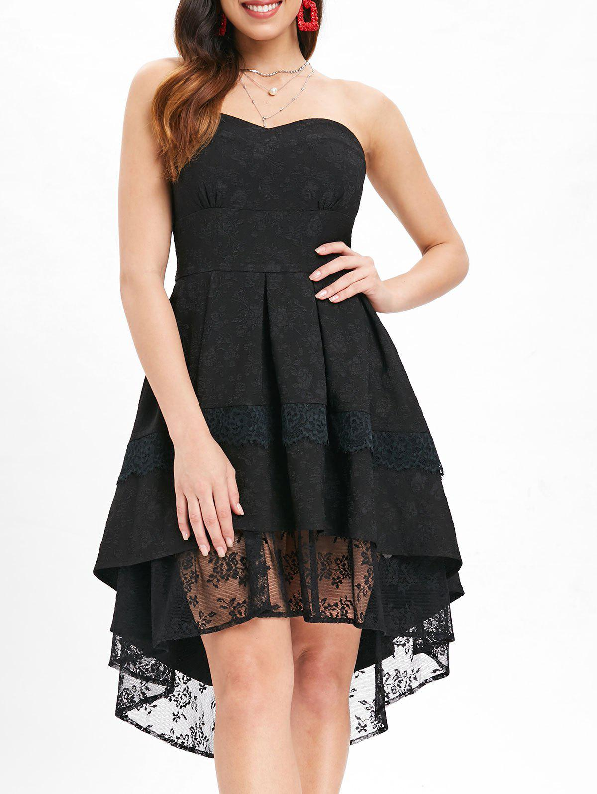 High Low Lace Strapless Dress - BLACK XL