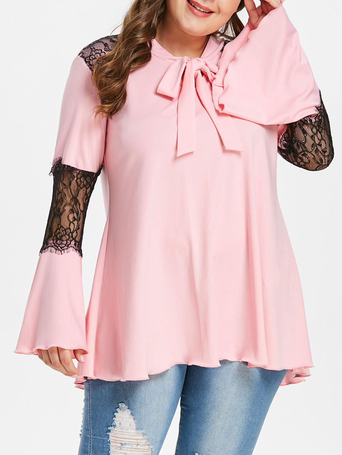 Plus Size Lace Panel Bow Tie Neck T-shirt - PINK 2X