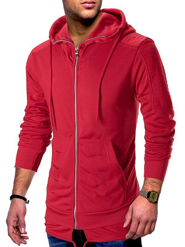 Zip Up Ripped Pleated Long Sleeve Hoodie - RED L