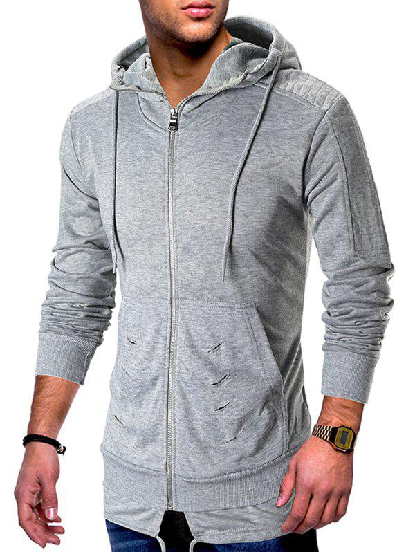 Zip Up Ripped Pleated Long Sleeve Hoodie - LIGHT GRAY 2XL
