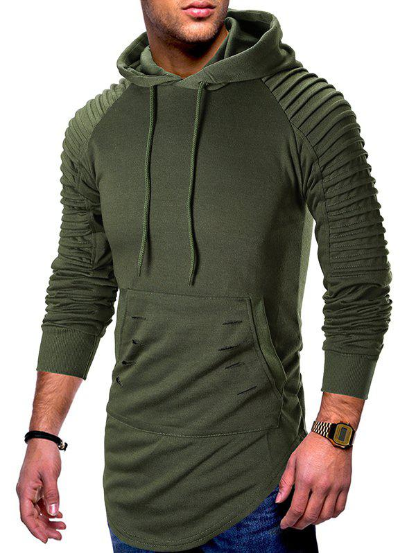 Pleated Raglan Sleeve Ripped Pullover Hoodie - ARMY GREEN M