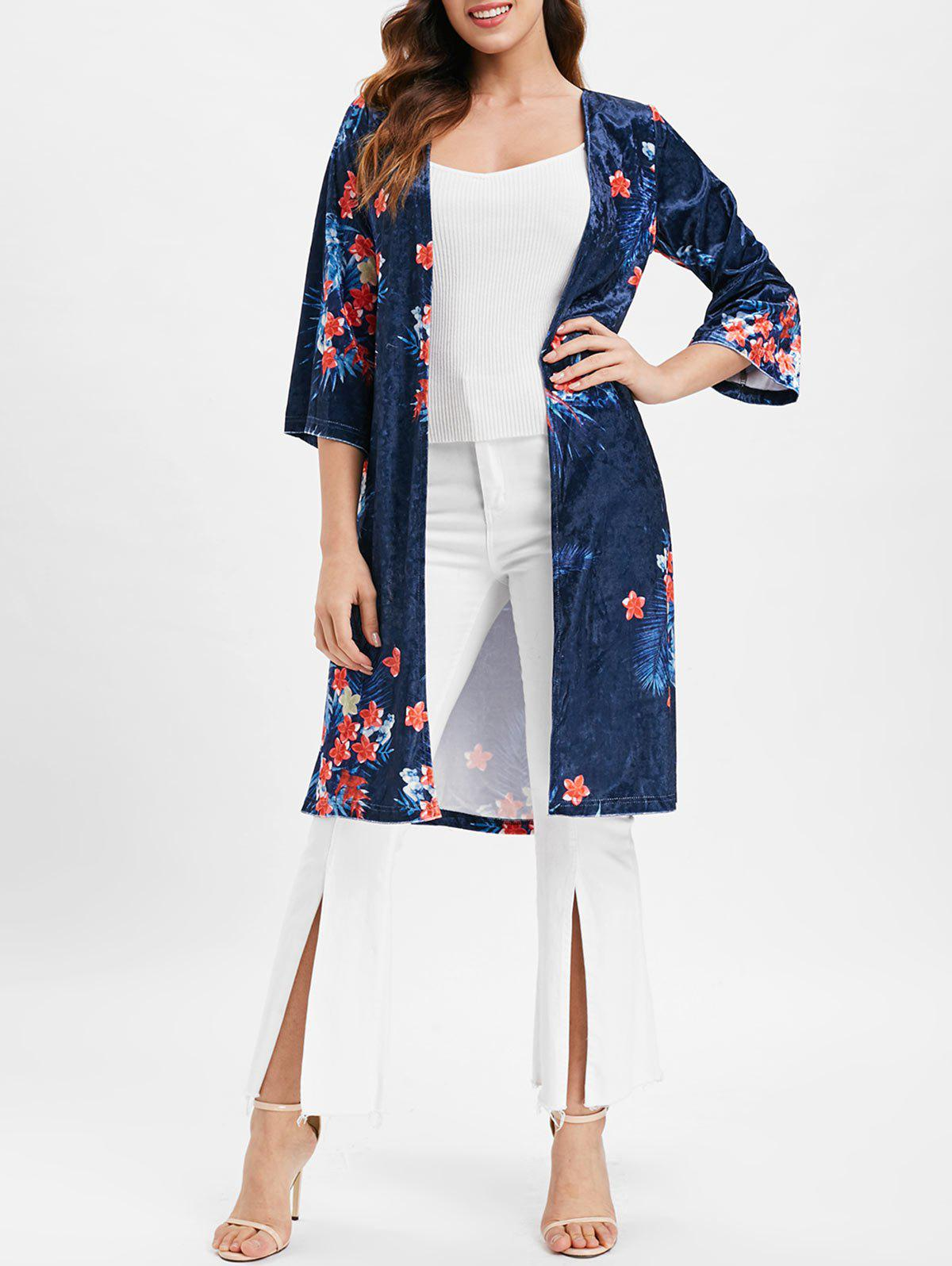 Floral Longline Velvet Coat with Open Front - NAVY BLUE M