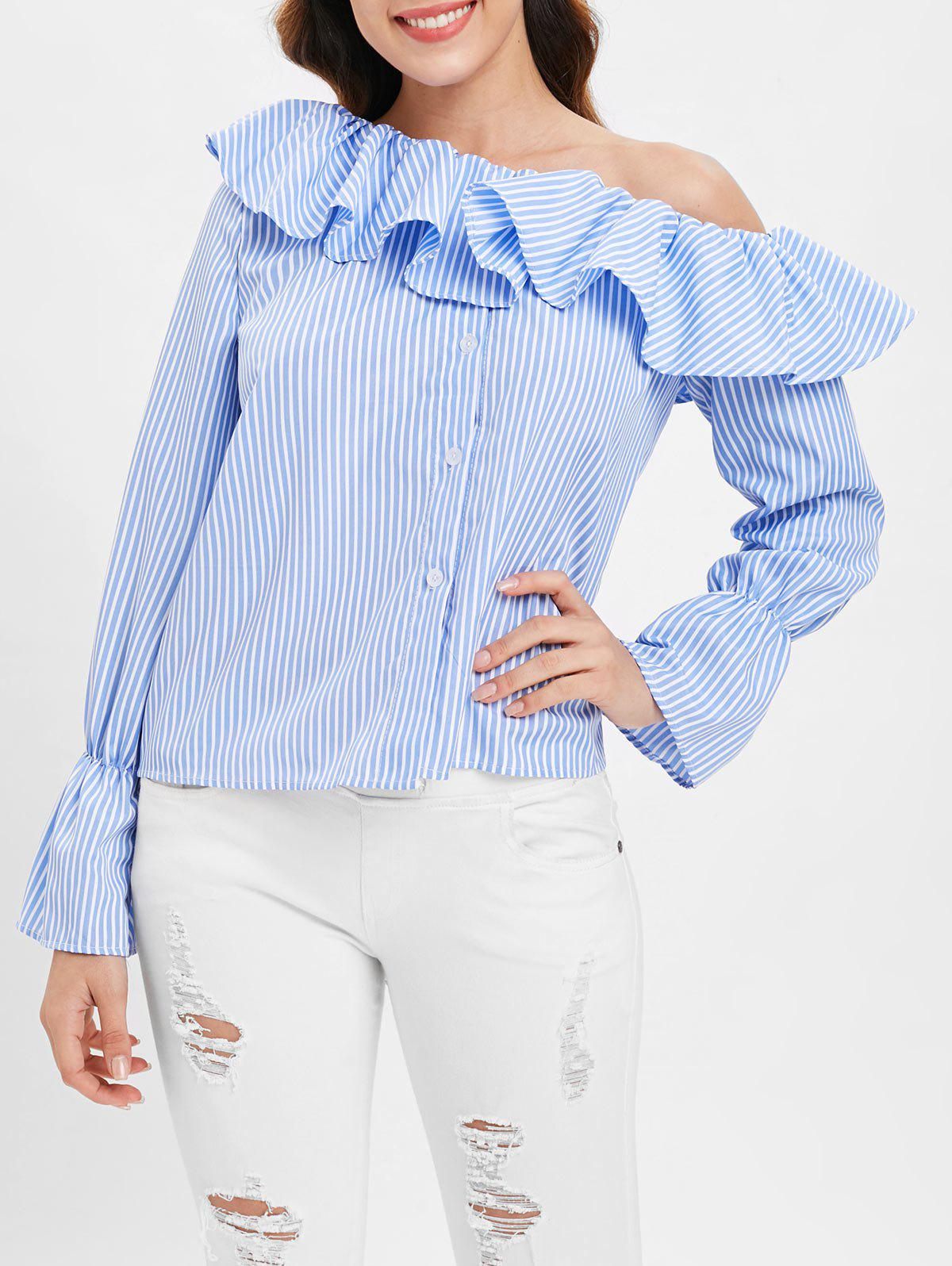Flounce Striped Blouse with Skew Neck - DAY SKY BLUE L