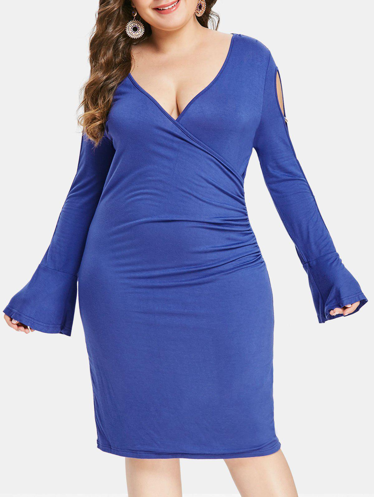 Plus Size Cut Out Sleeve Plunging Neck Bodycon Dress - BLUEBERRY BLUE 3X