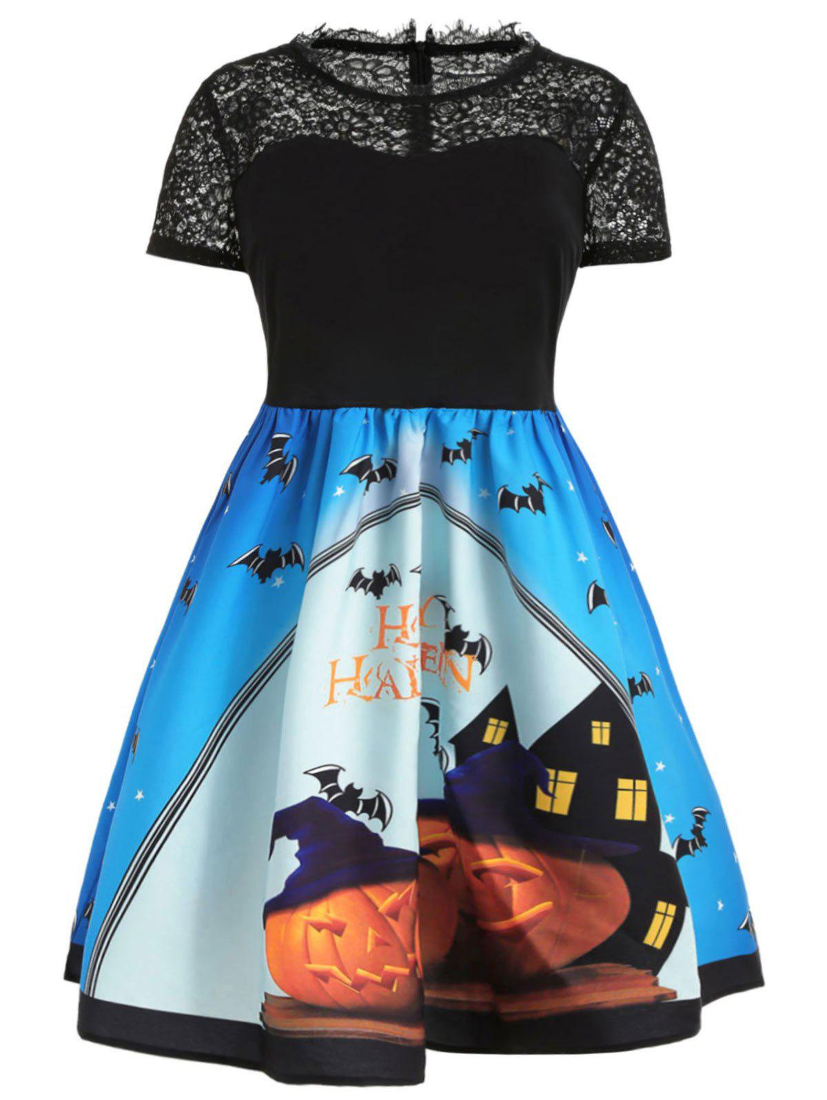 Plus Size Halloween Lace Yoke Dress