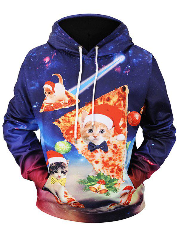 Christmas Pizza Cat Print Pullover Hoodie - multicolor M