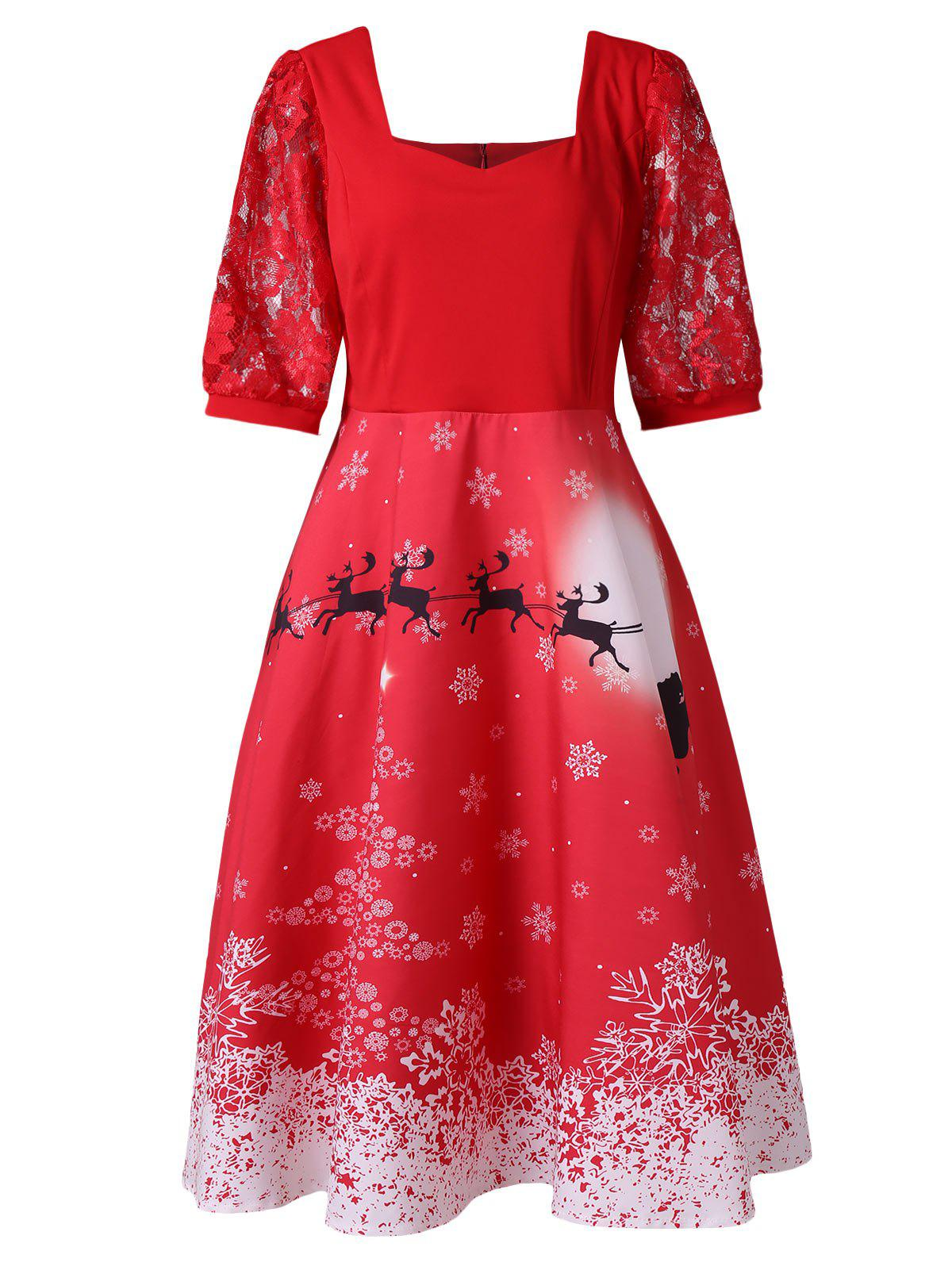 Plus Size Elk Snowflake Christmas Vintage Knee Length Dress - LAVA RED L