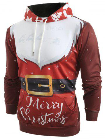 Sweat à Capuche Costume 3D Père Noël en Cravate Imprimé