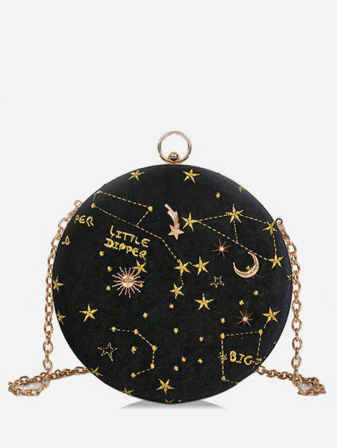 Round Shape Embroidery Star Crossbody Bag - BLACK