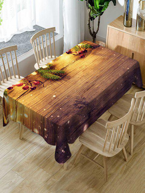 Christmas Wooden Print Fabric Waterproof Table Cloth - multicolor W54 X L72 INCH