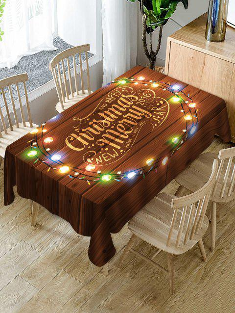 Merry Christmas Light Fabric Waterproof Table Cloth - multicolor W60 X L84 INCH