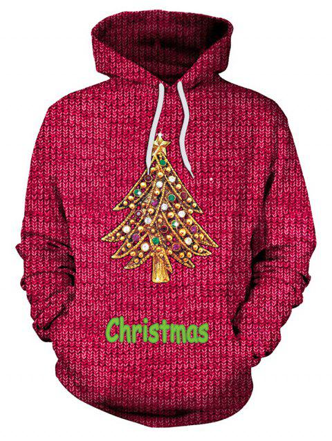 Christmas Tree Print Pullover Hoodie - RED 2XL