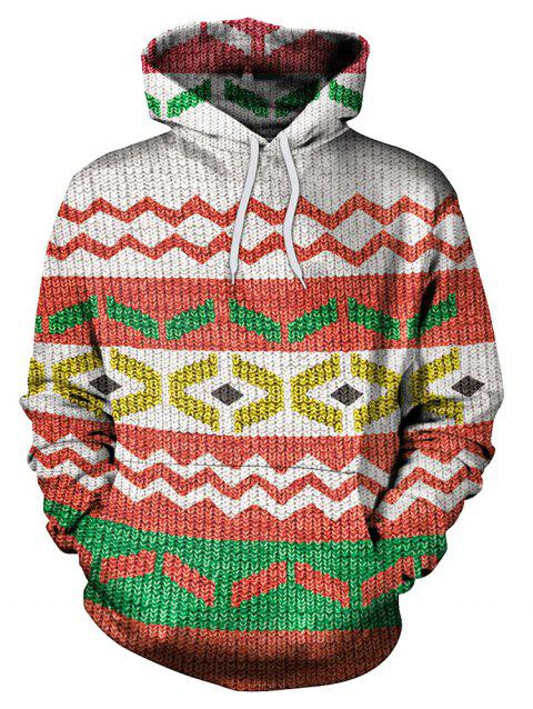 Casual Geometric Print Drawstring Hoodie - multicolor 2XL